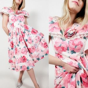 80s cape sleeve a-line floral prom dress vintage